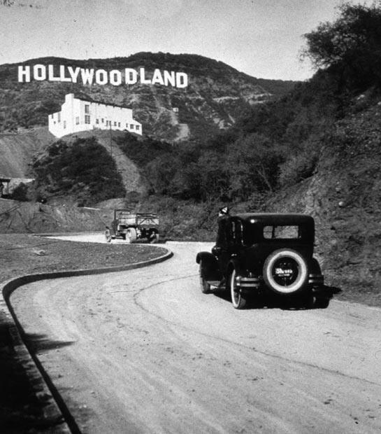 The famous Hollywood sign, which originally said 'Hollywoodland'. The last four letters were removed in 1949